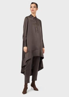 Giorgio Armani Asymmetrical Pinafore Dress In Silk Satin