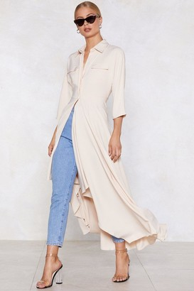 Nasty Gal Womens Long And Winding Road Longline Shirt - Beige - 12, Beige