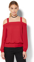 New York & Co. 7th Avenue - Cold-Shoulder Blouse - Red
