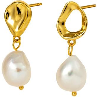 Marie June Jewelry Ripples 24k Gold Vermeil Baroque Pearl Earrings