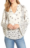 Lucky Brand Women's Mix Geo Print Peasant Blouse