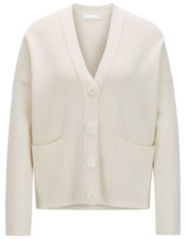 HUGO BOSS Oversized-fit cardigan in cotton and silk