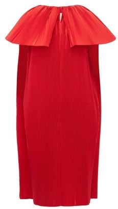 Roksanda Alya Cape Pleated-taffeta Dress - Womens - Red