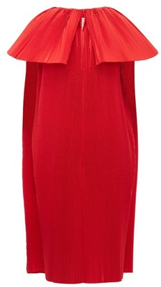 Roksanda Alya Cape-sleeve Pleated-taffeta Gown - Red