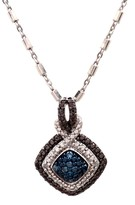 Savvy Cie Blue Pave Diamond Pendant Necklace - 0.08 ctw