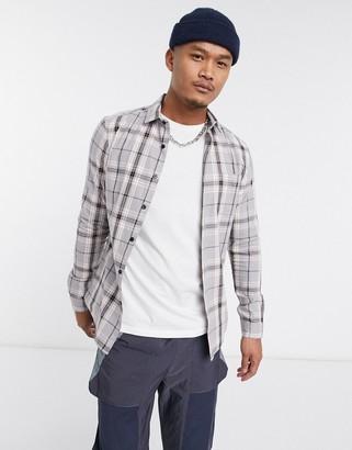 Asos DESIGN skinny fit check shirt in gray