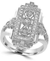 Effy Pave Classica 0.46 TCW Diamond and 14K White Gold Geometric Split Shank Ring