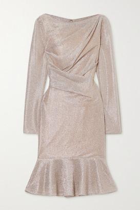 Talbot Runhof Ruched Metallic Voile Dress - Platinum