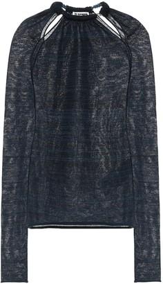 Jil Sander Beaded collar wool-blend top