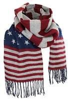 Women's Winter American Flag Fringed Shawl