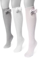 Muk Luks Women's Pointelle Bow Knee High Socks 7 x 3.5