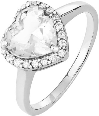 Rhodium Plated Sterling Silver Heart Cubic Zirconia Ring
