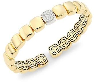 Alberto Milani Via Senato 18K Gold & Diamond Square-Link Bangle Bracelet