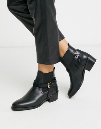 Vero Moda leather ankle boots with strap-Black