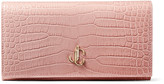 Jimmy Choo MARTINA Blush Croc-Embossed Leather Wallet with JC Emblem