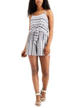 Ultra Flirt Juniors' Striped Tie-Front Romper