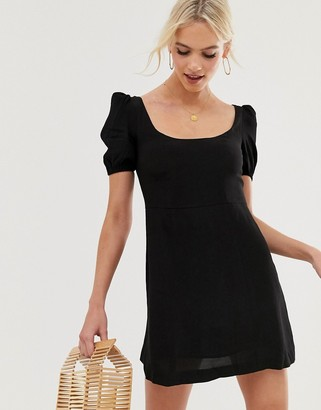 And other stories & mini dress with puff sleeves in black