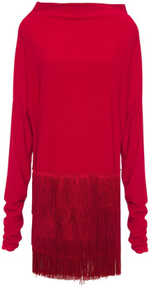 Norma Kamali Fringed Stretch-jersey Mini Dress