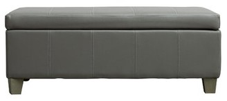 Ebern Designs Anahie Faux Leather Flip Top Storage Bench Color/Pattern: Gray