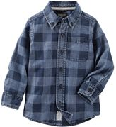 Osh Kosh Toddler Boy Chambray Checkered Button-Down Long Sleeve Shirt