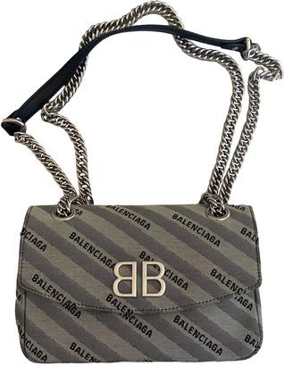 Balenciaga BB Round Grey Cloth Handbags