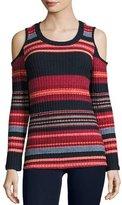 Ella Moss Laurence Cold-Shoulder Multi-Stripe Ribbed Top, Scarlet Multi