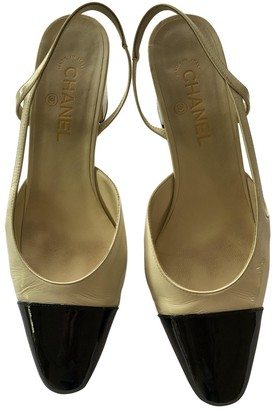 Chanel Slingback Beige Patent leather Heels