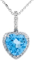 Amoro 14kt White Gold Topaz and Diamond Pendant (0.07 cttw, H-I Color, SI1-SI2 Clarity)