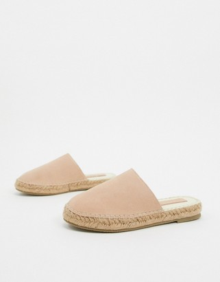 Asos DESIGN Journey suede espadrille mules in sand