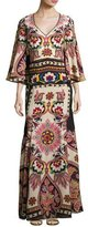Etro Paisley Cutout-Back Bell-Sleeve Gown, Ivory/Black/Bright Multicolor