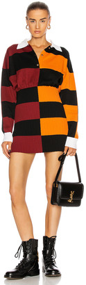 Burberry Stripe Polo Size Zip Mini Dress in Bright Orange | FWRD