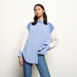 Sandro Oversized striped patchwork shirt