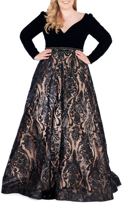 Mac Duggal Plus Size Velvet Plunge-Neck Long-Sleeve Ball Gown with Sequined Skirt