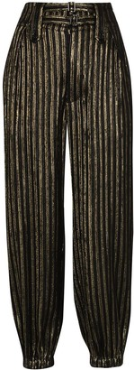Saint Laurent Lame-Stripe Tapered Trousers