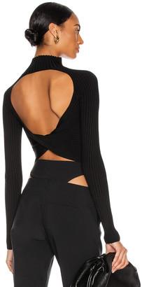Dion Lee Twist Back Long Sleeve Top in Black | FWRD
