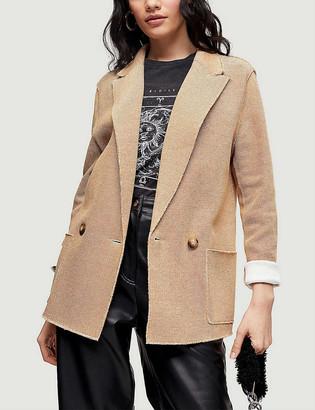 Topshop Raw-edge cotton-jersey blazer