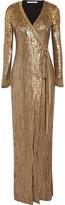 Diane von Furstenberg Ariel Armour Sequined Stretch-jersey Wrap Gown - Gold