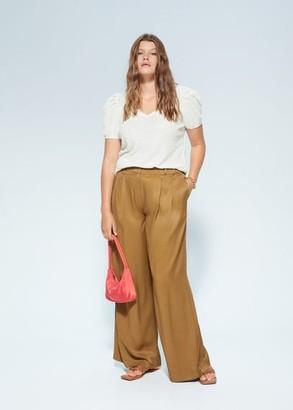 MANGO Violeta BY Puffed sleeves T-shirt white - XL - Plus sizes