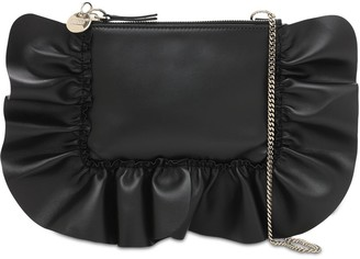 Red(V) Audrey Leather Pouch W/ruffles