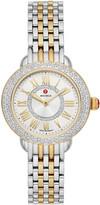 Michele Serein Petite Two-Tone Diamond Watch, Gold/Steel