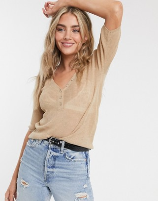 Vila button front top in tan