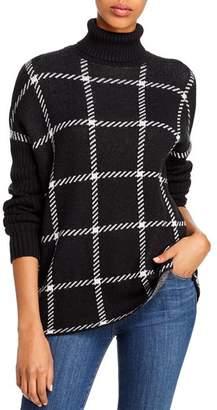 Aqua Windowpane Turtleneck Sweater - 100% Exclusive