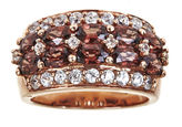 JCPenney FINE JEWELRY LIMITED QUANTITIES Genuine Red Zircon and Lab-Created White Sapphire 18K Rose Gold Over Silver Ring