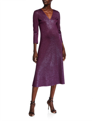 St. John V-Neck 3/4-Sleeve Flared Milano Knit Dress w/ Sequins