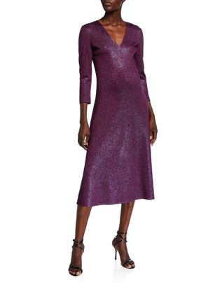 St. John V-Neck 3/4-Sleeve Flared Milano Knit Dress w/ Sequins