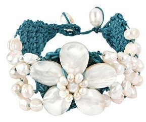 Aeravida Handmade Ocean Flower Seashell and Pearl Interwoven Cotton Rope Toggle Bracelet