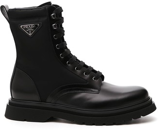 Prada Logo Plaque Lace-Up Boots