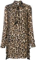 Twin-Set leopard print dress with neck tie
