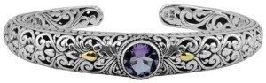 Devata Amethyst (1-1/2 ct. t.w.) Bali Heritage Classic Cuff Bracelet in Sterling Silver and 18k Yellow Gold Accents