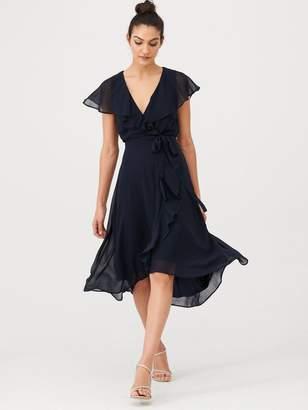 Very Nova Cape Wrap Dress - Dark Navy